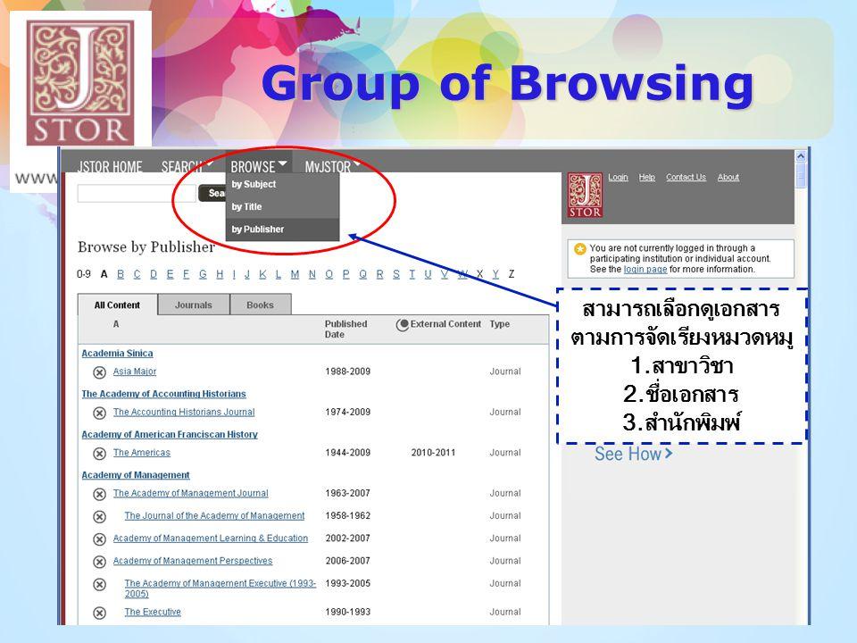 Group of Browsing สามารถเลือกดูเอกสาร ตามการจัดเรียงหมวดหมู 1.สาขาวิชา 2.ชื่อเอกสาร 3.สำนักพิมพ์