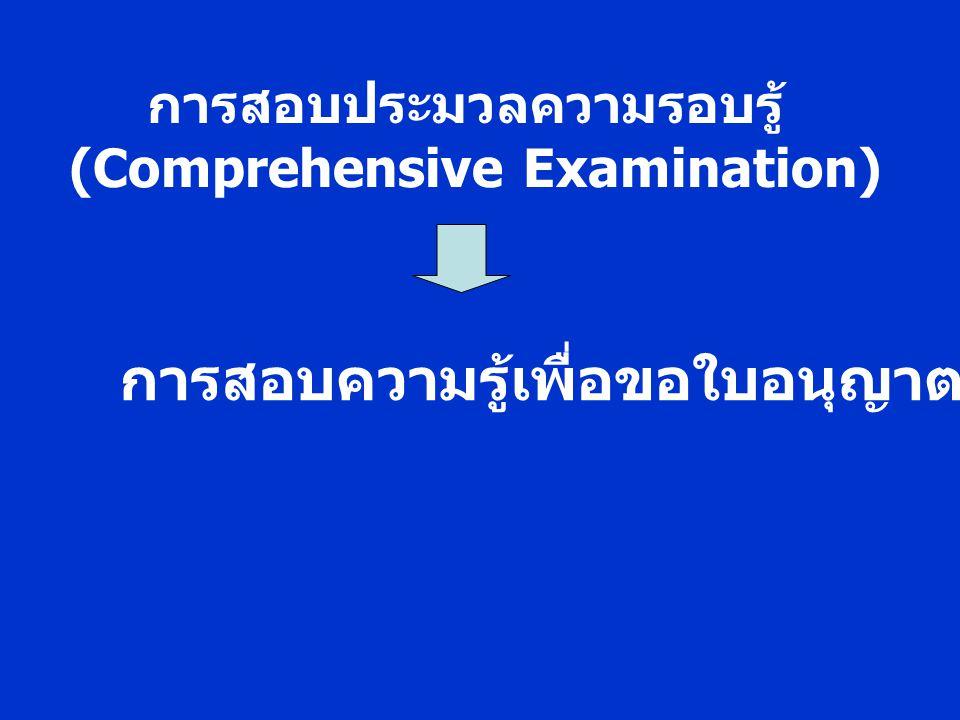 การสอบประมวลความรอบรู้ (Comprehensive Examination) การสอบความรู้เพื่อขอใบอนุญาตประกอบวิชาชีพ