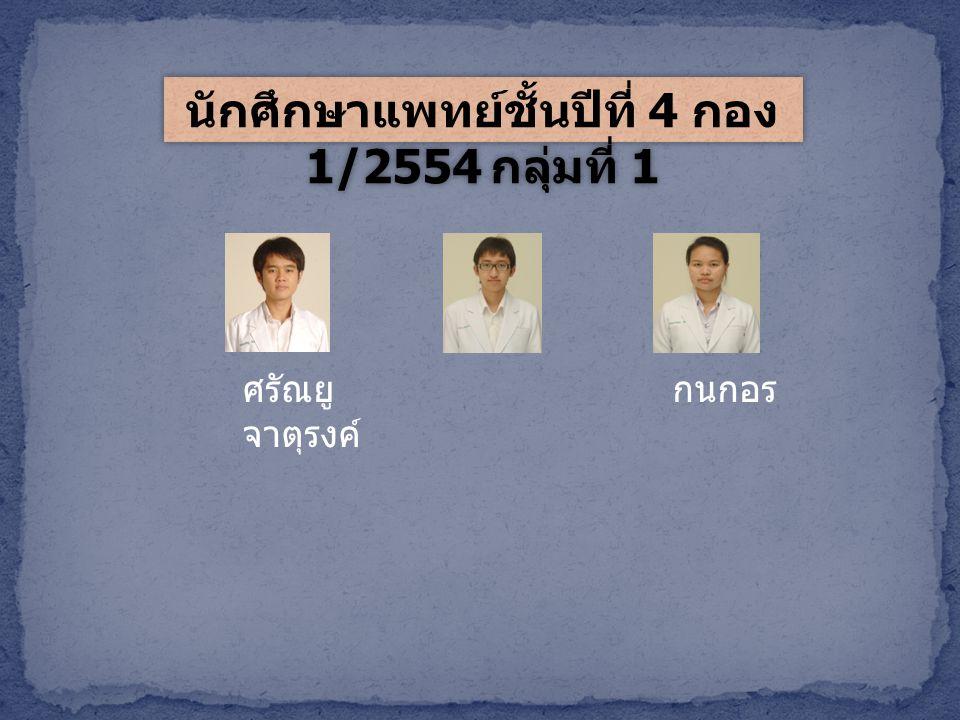 นักศึกษาแพทย์ชั้นปีที่ 4 กอง 1/2554 กลุ่มที่ 1 ศรัณยู จาตุรงค์ กนกอร
