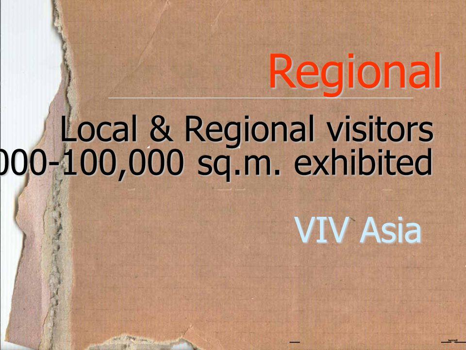 Regional Local & Regional visitors 10,000-100,000 sq.m. exhibited VIV Asia