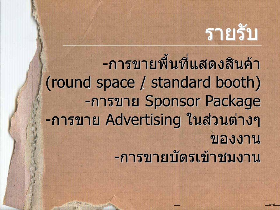 รายรับ - การขายพื้นที่แสดงสินค้า (round space / standard booth) - การขาย Sponsor Package - การขาย Advertising ในส่วนต่างๆ ของงาน - การขายบัตรเข้าชมงาน