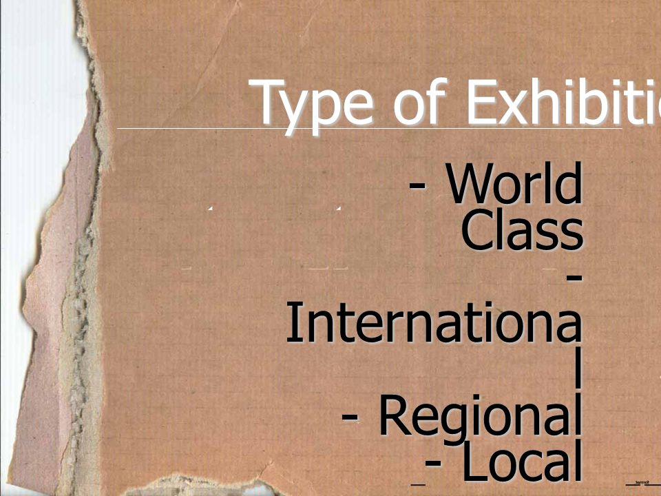 Type of Exhibition - World Class - Internationa l - Regional - Local