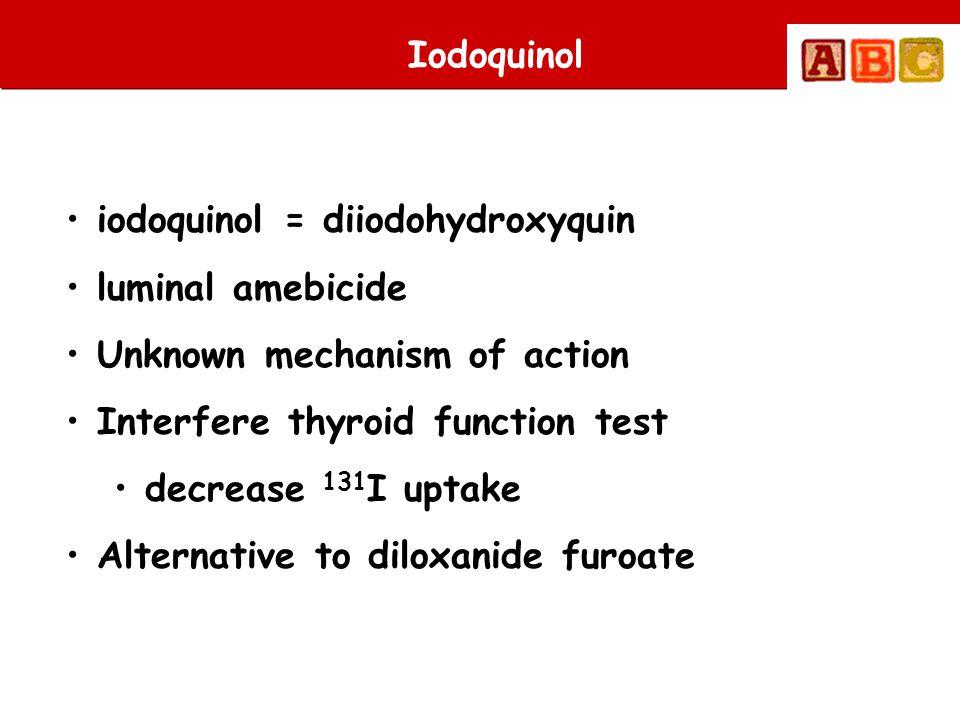 Iodoquinol • iodoquinol = diiodohydroxyquin • luminal amebicide • Unknown mechanism of action • Interfere thyroid function test • decrease 131 I uptak