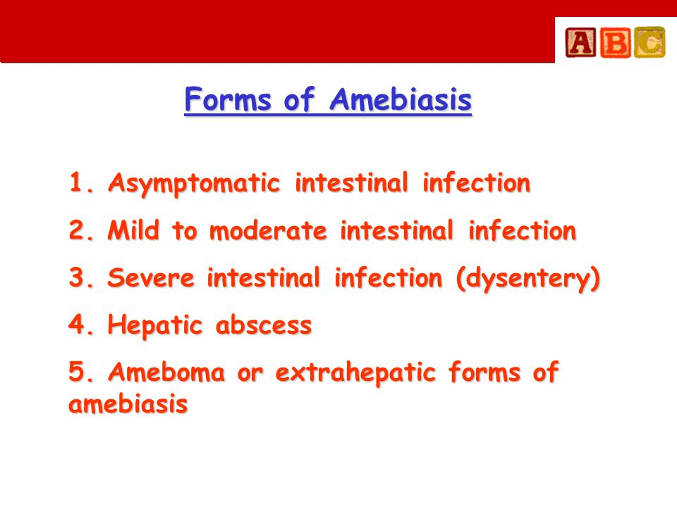Treatment amebiasis • Mild to moderate intestinal infection • Severe intestinal infection (dysentery) • Hepatic abscess / other extrahepatic infection DOC • Metronidazole + diloxanide furoate Tissue amebicide + Luminal amebicide