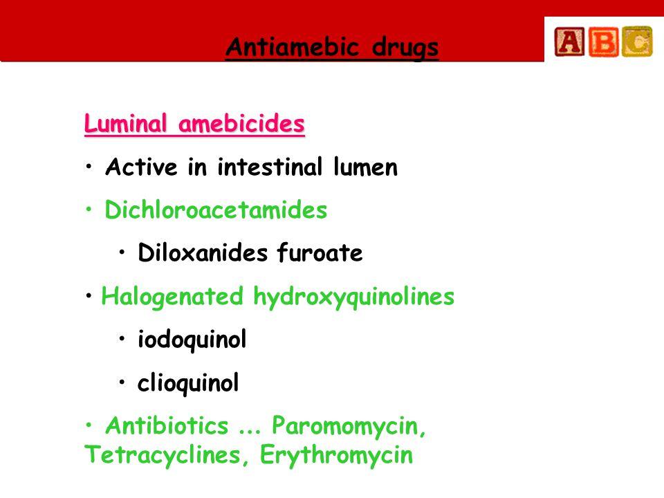 Antiamebic drugs Luminal amebicides • Active in intestinal lumen • Dichloroacetamides • Diloxanides furoate • Halogenated hydroxyquinolines • iodoquin