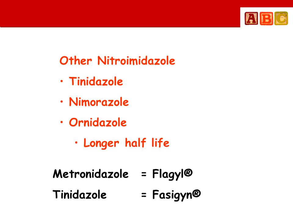 Other Nitroimidazole • Tinidazole • Nimorazole • Ornidazole • Longer half life Metronidazole = Flagyl® Tinidazole= Fasigyn®