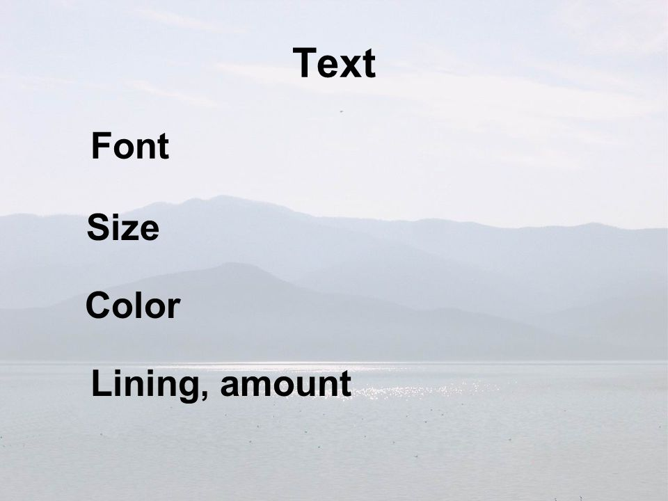 Text Font Size Lining, amount Color