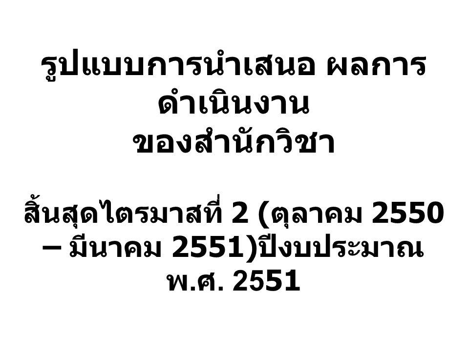 รูปแบบการนำเสนอ ผลการ ดำเนินงาน ของสำนักวิชา สิ้นสุดไตรมาสที่ 2 ( ตุลาคม 2550 – มีนาคม 2551) ปีงบประมาณ พ. ศ. 2551