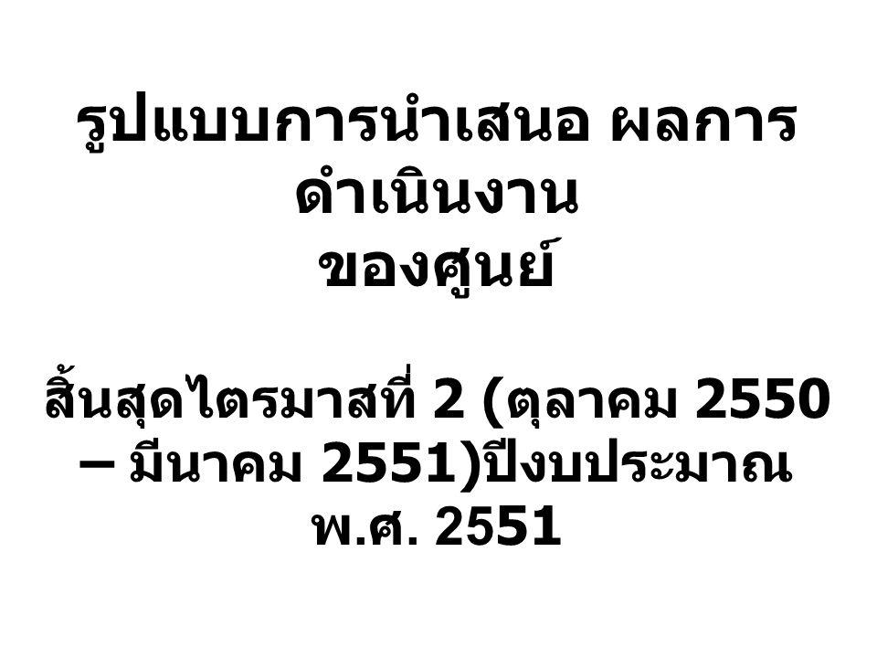 รูปแบบการนำเสนอ ผลการ ดำเนินงาน ของศูนย์ สิ้นสุดไตรมาสที่ 2 ( ตุลาคม 2550 – มีนาคม 2551) ปีงบประมาณ พ. ศ. 2551