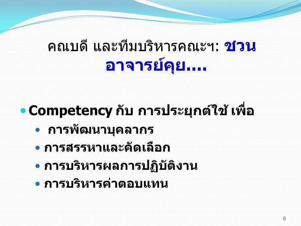 6 คณบดี และทีมบริหารคณะฯ : ชวน อาจารย์คุย....  Competency กับ การประยุกต์ใช้ เพื่อ  การพัฒนาบุคลากร  การสรรหาและคัดเลือก  การบริหารผลการปฏิบัติงาน
