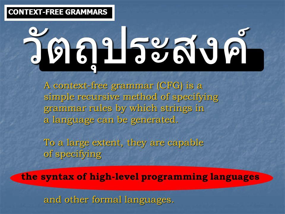 ALGEBRAIC EXPRESSION Context-free grammar of this language is the following: S  S+S | S-S | S  S | S  S | (S) | a where a is a terminal symbol.