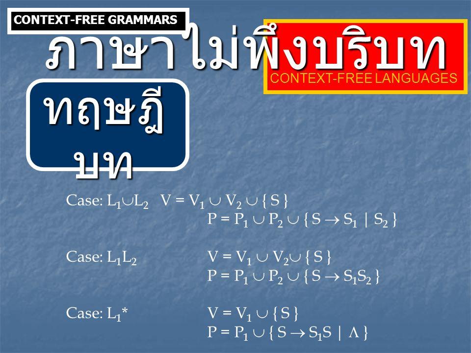 Case: L 1  L 2 V = V 1  V 2  { S } P = P 1  P 2  { S  S 1 | S 2 } Case: L 1 L 2 V = V 1  V 2  { S } P = P 1  P 2  { S  S 1 S 2 } Case: L 1