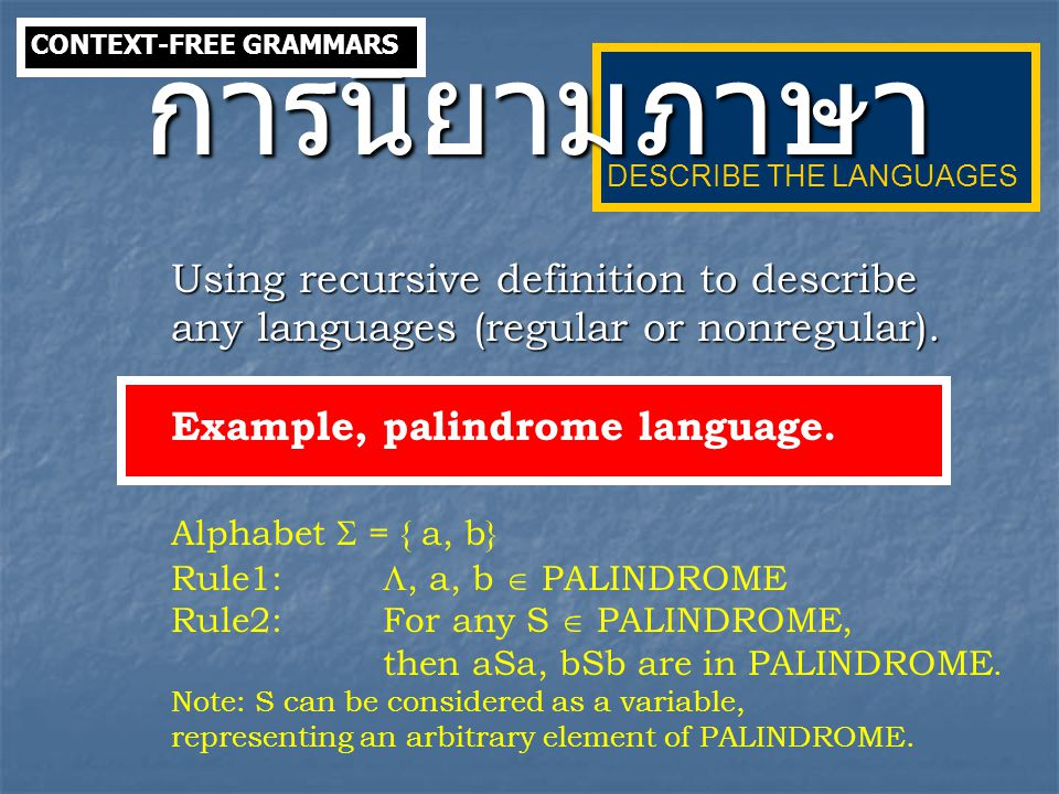 EXAMPLE Given a context-free grammar G with productions S  ABC | ACB | AB | BC | CB | B A  ACD | CD | AC | C | AD | D | A B  Cb | b C  a D  bD | b S-derivable = { B } A-derivable = { C, D } B-derivable = C-derivable = D-derivable =  NORMAL FORMS