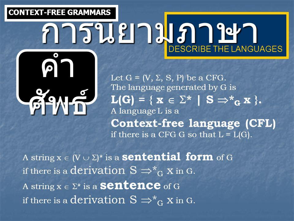 ตัวอย่ าง Given a context-free grammar G with productions S  ABC | ACB A  ACD | CD | AC | C B  Cb C  a |  D  bD | b NORMAL FORMS CONTEXT-FREE LANGUAGES  -Production  -Production