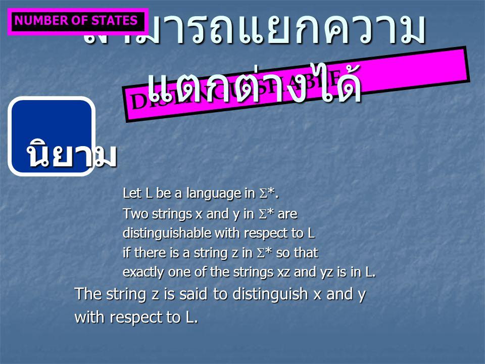 นิยาม Let L be a language in  *.