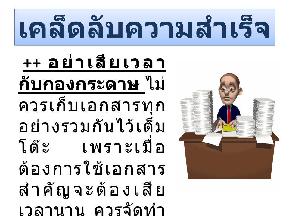 ++ อย่าเสียเวลา กับกองกระดาษ ไม่ ควรเก็บเอกสารทุก อย่างรวมกันไว้เต็ม โต๊ะ เพราะเมื่อ ต้องการใช้เอกสาร สำคัญจะต้องเสีย เวลานาน ควรจัดทำ เป็นแฟ้มเอกสารเ