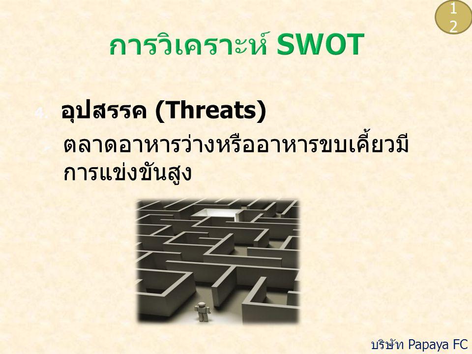 4. อุปสรรค (Threats)  ตลาดอาหารว่างหรืออาหารขบเคี้ยวมี การแข่งขันสูง 1212 บริษัท Papaya FC จำกัด