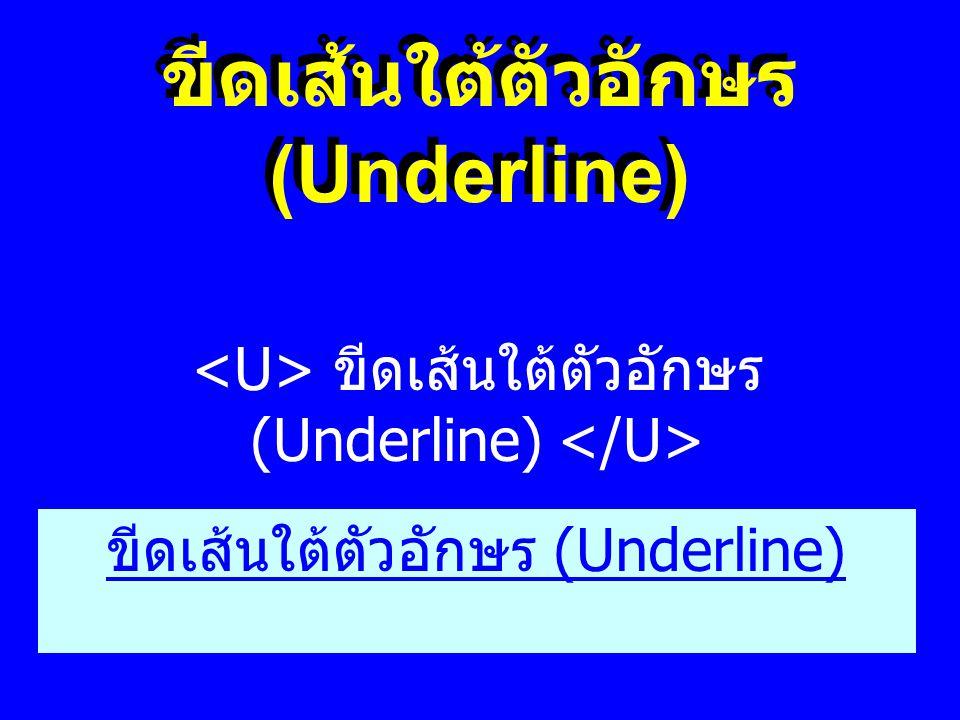 ขีดเส้นใต้ตัวอักษร (Underline) ขีดเส้นใต้ตัวอักษร (Underline) ขีดเส้นใต้ตัวอักษร (Underline)