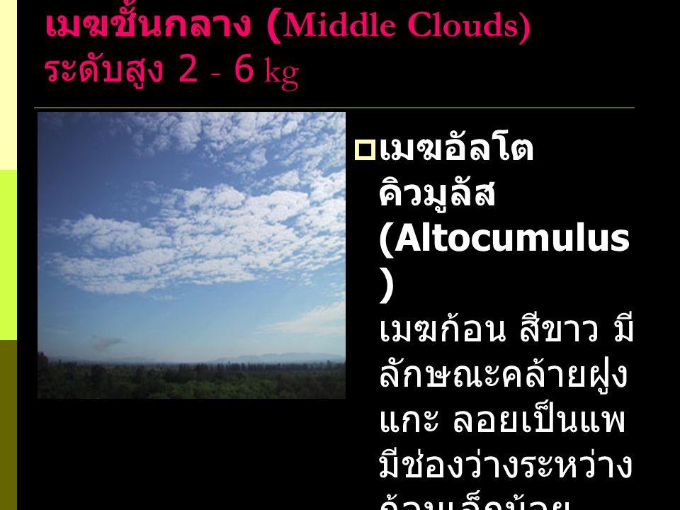  เมฆอัลโตส เตรตัส (Altostratus) เมฆแผ่นหนา ส่วนมากมักมีสี เทา เนื่องจากบัง แสงดวงอาทิตย์ ไม่ให้ลอดผ่าน และเกิดขึ้นปก คลุมท้องฟ้าเป็น บริเวณกว้างมาก หรือปกคลุม ท้องฟ้าทั้งหมด