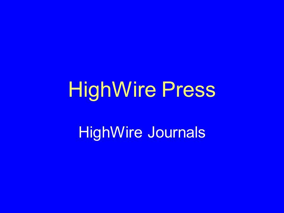 HighWire Press HighWire Journals