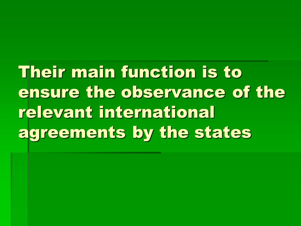 Their main function is to ensure the observance of the relevant international agreements by the states