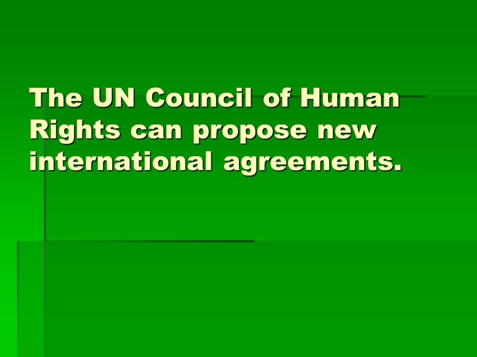 The UN Council of Human Rights can propose new international agreements.
