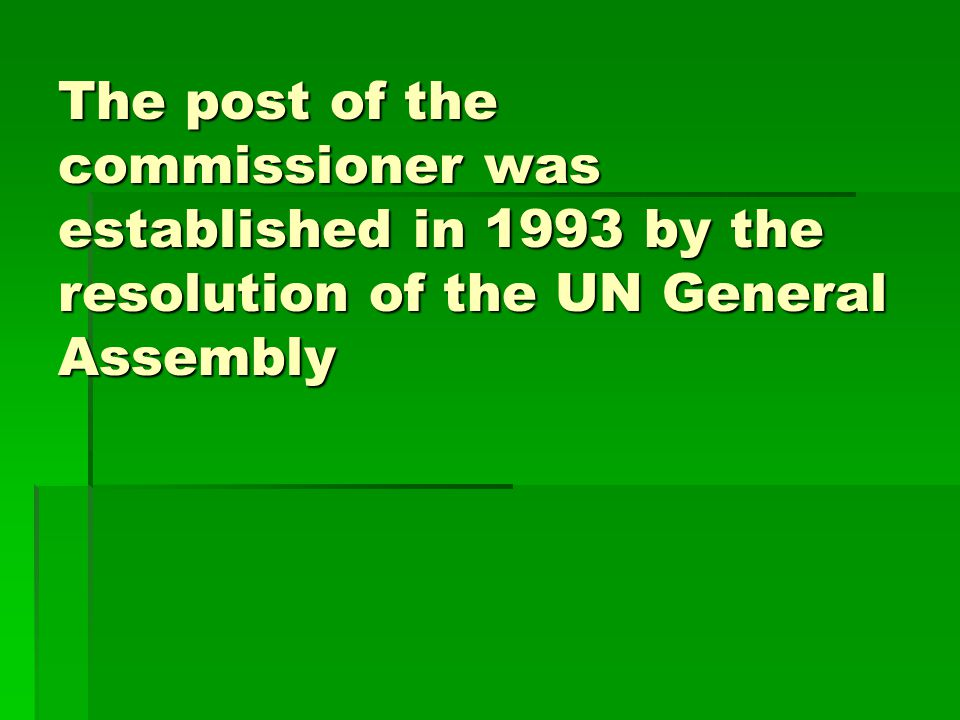 The post of the commissioner was established in 1993 by the resolution of the UN General Assembly