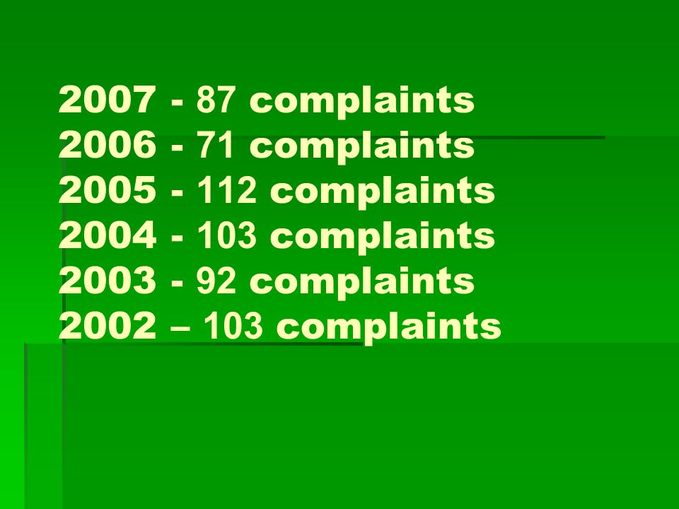 2007 - 87 complaints 2006 - 71 complaints 2005 - 112 complaints 2004 - 103 complaints 2003 - 92 complaints 2002 – 103 complaints
