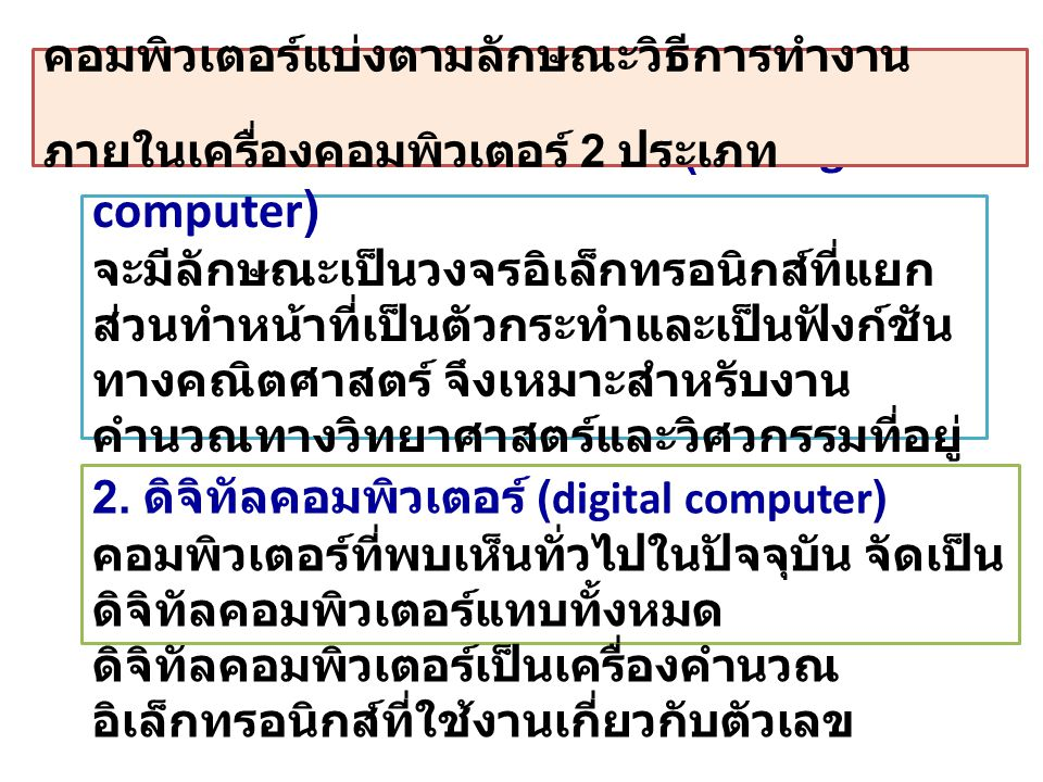 1.ไมโครคอมพิวเตอร์ (Microcomputer ) 2. สถานีงานวิศวกรรม (engineering workstation) 3.
