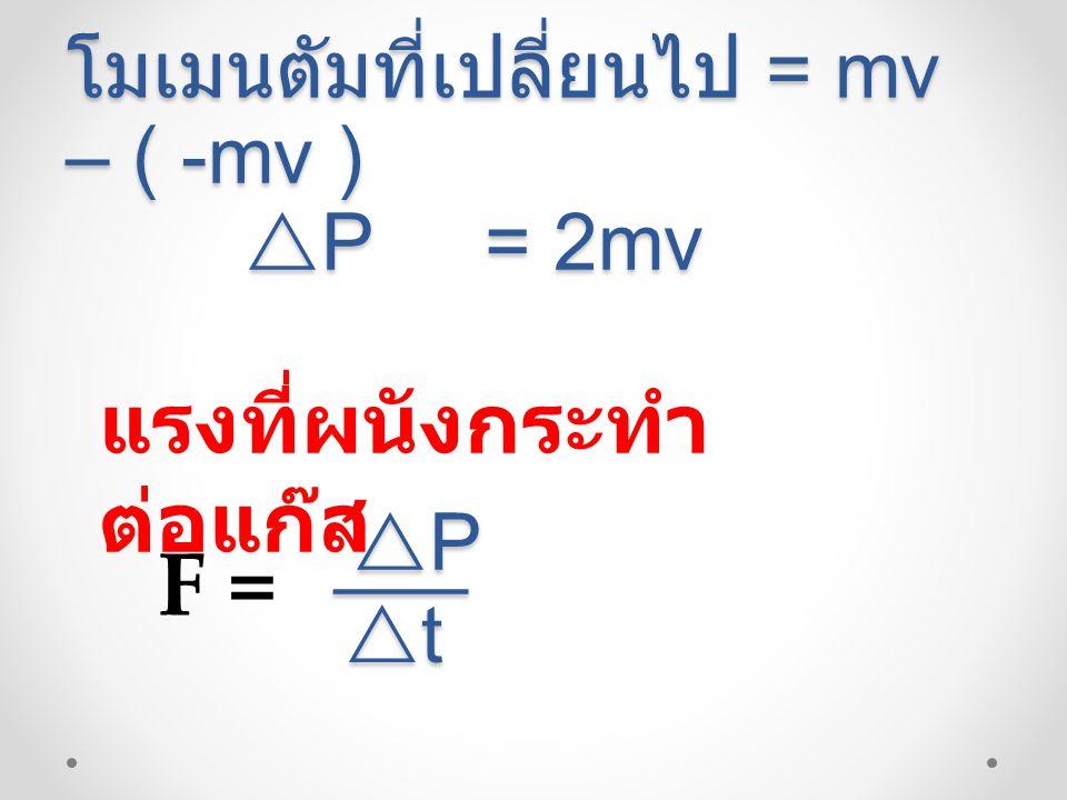 โมเมนตัมที่เปลี่ยนไป = mv – ( -mv )  P = 2mv  P = 2mv แรงที่ผนังกระทำ ต่อแก๊ส F = PPPP ___ tttt