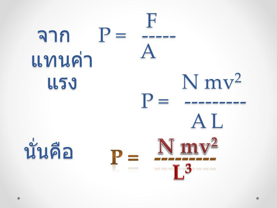 จาก P = ----- จาก P = -----FA แทนค่า แรง P = --------- P = --------- N mv 2 A L นั่นคือ