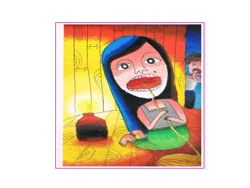 • จึงนำความไปเล่าให้เพื่อนบ้านฟัง คืนต่อมาแม่ ผัวและเพื่อนบ้านจึงมาแอบดู เพื่อจับผิด ลูกสะใภ้ ในที่สุดได้จู่โจมเข้าไปในห้องขณะที่ ลูกสะใภ้กำลังสาวไหมอ