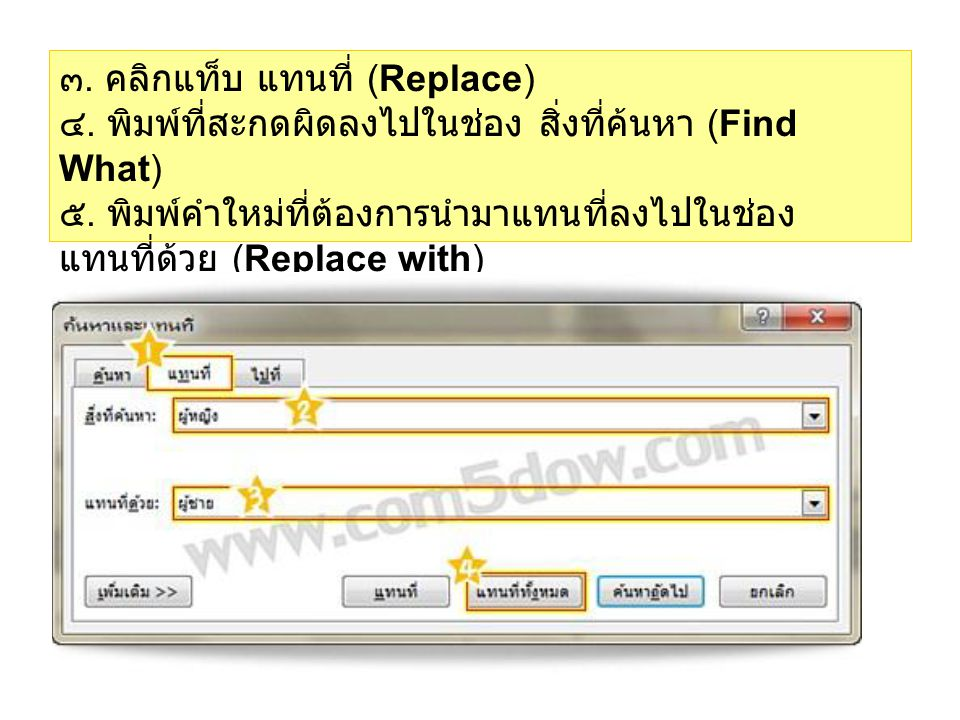 ๓. คลิกแท็บ แทนที่ (Replace) ๔. พิมพ์ที่สะกดผิดลงไปในช่อง สิ่งที่ค้นหา (Find What) ๕. พิมพ์คำใหม่ที่ต้องการนำมาแทนที่ลงไปในช่อง แทนที่ด้วย (Replace wi