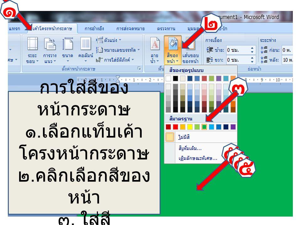 ๕ ๕ ๕ ๕ ๓ ๑ ๒ การใส่สีของ หน้ากระดาษ ๑. เลือกแท็บเค้า โครงหน้ากระดาษ ๒. คลิกเลือกสีของ หน้า ๓. ใส่สี