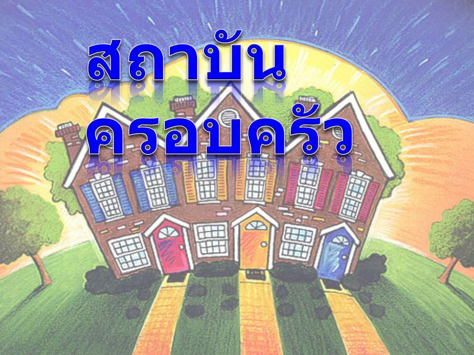 สถาบันครอบครัว คือ สถาบันขั้นพื้นฐานและมี ความสำคัญมากต่อสังคมไทย ครอบครัวเกิดจากกลุ่มคน ตั้งแต่สองคนขึ้นไปมี ความสัมพันธ์กันทางการ สมรส สายโลหิต หรือการรับ เอาไว้เป็นบุตรบุญธรรม รวมทั้งการรับบุคคลอื่น เช่น ญาติ และคนรับใช้มาอาศัย อยู่ร่วมกัน สถาบันครอบครัวเป็นสถาบันที่มี ความใกล้ชิดและมีอิทธิพลโดยตรงใน การอบรมขัดเกลาให้สมาชิกมี บุคลิกภาพที่ดี มีการปรับตัวที่เหมาะสม เพื่อเป็นสมาชิกที่ดีของสังคม