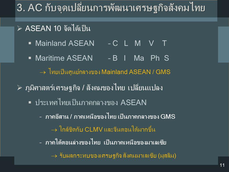 3. AC กับจุดเปลี่ยนการพัฒนาเศรษฐกิจสังคมไทย 11  ASEAN 10 จัดได้เป็น  Mainland ASEAN – C L M V T  Maritime ASEAN – B I Ma Ph S  ไทยเป็นศูนย์กลางของ