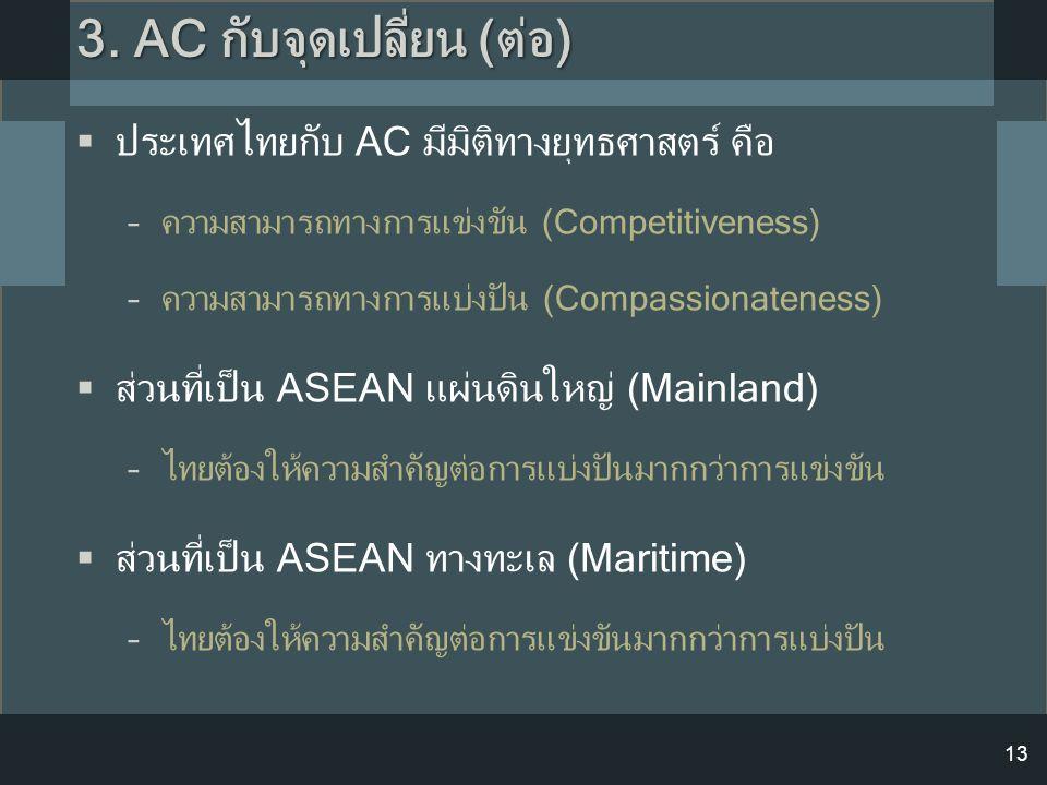13  ประเทศไทยกับ AC มีมิติทางยุทธศาสตร์ คือ –ความสามารถทางการแข่งขัน (Competitiveness) –ความสามารถทางการแบ่งปัน (Compassionateness)  ส่วนที่เป็น ASE