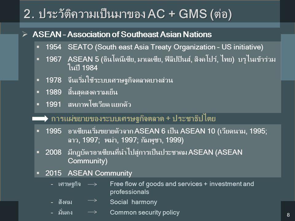  ASEAN – Association of Southeast Asian Nations  1954SEATO (South east Asia Treaty Organization – US initiative)  1967ASEAN 5 (อินโดนีเซีย, มาเลเซี