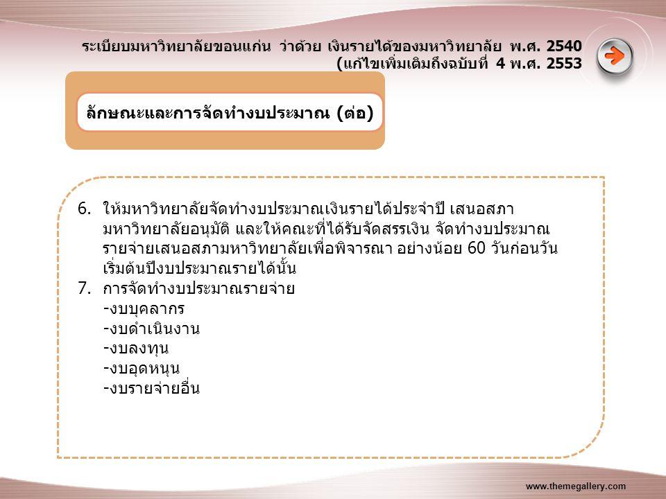 www.themegallery.com ระเบียบมหาวิทยาลัยขอนแก่น ว่าด้วย เงินรายได้ของมหาวิทยาลัย พ.