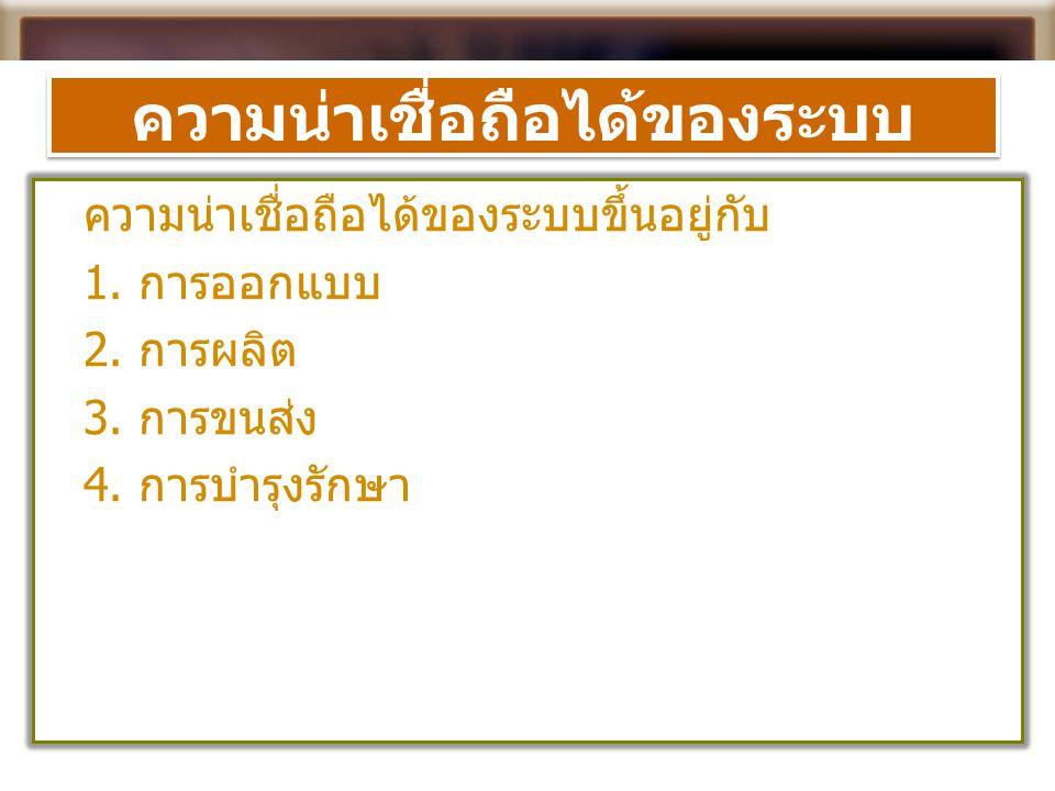 ต้นทุนคุณภาพ  ประเภทของต้นทุนคุณภาพ 1.
