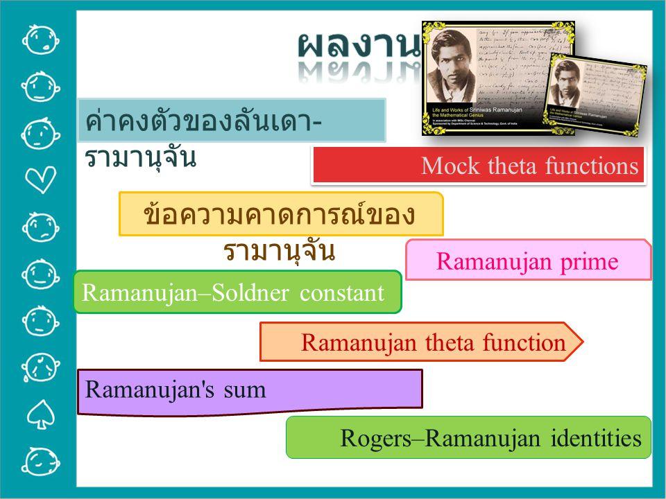 ค่าคงตัวของลันเดา - รามานุจัน Mock theta functions ข้อความคาดการณ์ของ รามานุจัน Ramanujan prime Ramanujan–Soldner constant Ramanujan theta function Ramanujan s sum Rogers–Ramanujan identities