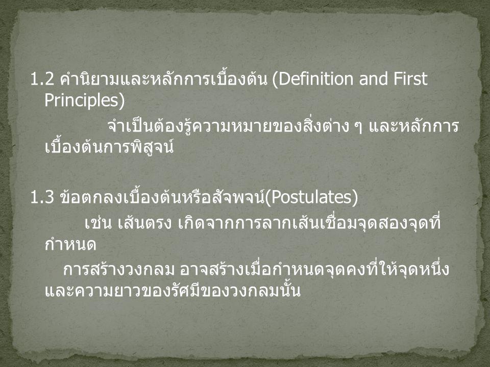 1.2 คำนิยามและหลักการเบื้องต้น (Definition and First Principles) จำเป็นต้องรู้ความหมายของสิ่งต่าง ๆ และหลักการ เบื้องต้นการพิสูจน์ 1.3 ข้อตกลงเบื้องต้