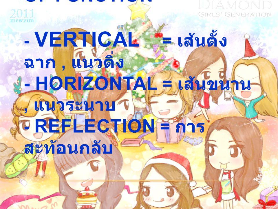 1.7 TRANSFORMATION OF FUNCTION - VERTICAL = เส้นตั้ง ฉาก, แนวดิ่ง - HORIZONTAL = เส้นขนาน, แนวระนาบ - REFLECTION = การ สะท้อนกลับ