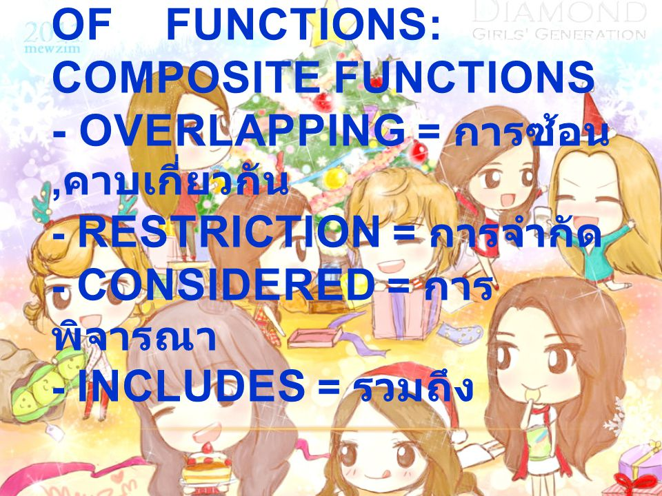 1.8 COMBINATIONS OF FUNCTIONS: COMPOSITE FUNCTIONS - OVERLAPPING = การซ้อน, คาบเกี่ยวกัน - RESTRICTION = การจำกัด - CONSIDERED = การ พิจารณา - INCLUDES = รวมถึง