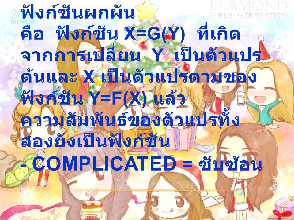 - INVERSE FUNCTION = ฟังก์ชันผกผัน คือ ฟังก์ชัน X=G(Y) ที่เกิด จากการเปลี่ยน Y เป็นตัวแปร ต้นและ X เป็นตัวแปรตามของ ฟังก์ชัน Y=F(X) แล้ว ความสัมพันธ์ข