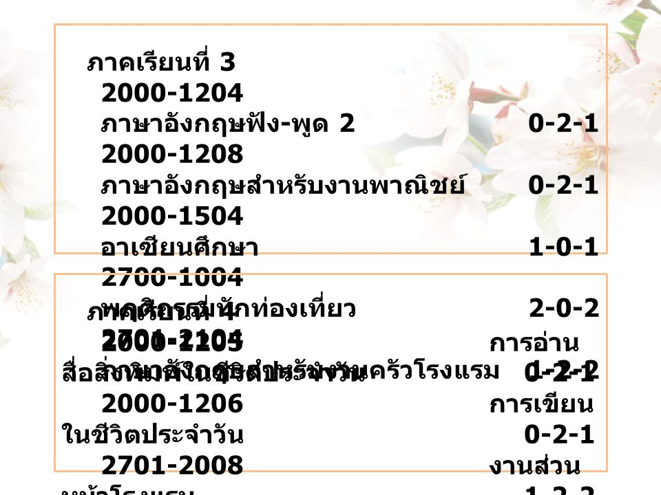 ภาคเรียนที่ 3 2000-1204 ภาษาอังกฤษฟัง - พูด 20-2-1 2000-1208 ภาษาอังกฤษสำหรับงานพาณิชย์ 0-2-1 2000-1504 อาเซียนศึกษา 1-0-1 2700-1004 พฤติกรรมนักท่องเท