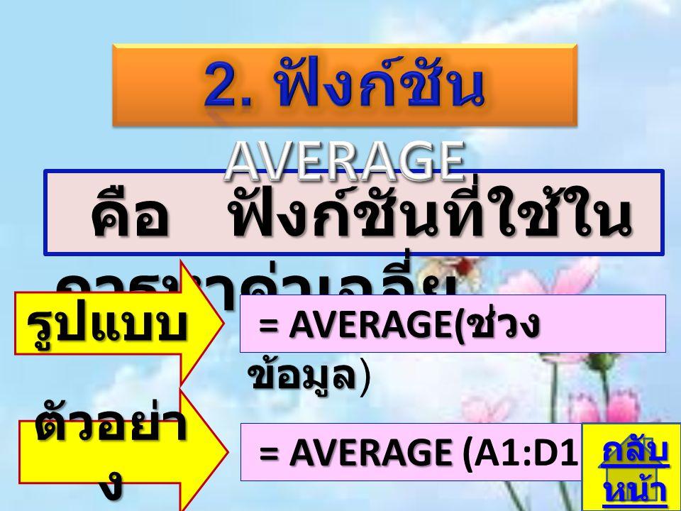 คือ ฟังก์ชันที่ใช้ใน การหาค่าเฉลี่ย คือ ฟังก์ชันที่ใช้ใน การหาค่าเฉลี่ย รูปแบบ = AVERAGE( ช่วง ข้อมูล = AVERAGE( ช่วง ข้อมูล ) ตัวอย่า ง = AVERAGE = A
