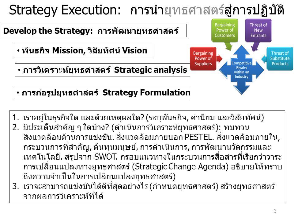 Strategy Execution : การนำยุทธศาสตร์สู่การปฏิบัติ การปรับ บริบท ภายในองค์กร Align the Organization • หน่วยธุรกิจ Business units • หน่วยสนับสนุน Support units • พนักงานลูกจ้าง Employees 1.เราจะมั่นใจได้อย่างไรว่าทุกหน่วยในองค์กรมีความเข้าใจตรงกัน (ปรับบริบท กระบวนท่า ในหน่วยธุรกิจให้สนับสนุน สอดคล้อง) ถ่ายทอดไล่เรียงยุทธศาสตร์ลงไปยังหน่วยธุรกิจ อย่างเป็นรูปธรรมที่สามารถสะท้อนให้เห็นถึง 1) ยุทธศาสตร์ระดับท้องถิ่น 2) บูรณาการ กับยุทธศาสตร์องค์กรและยุทธศาสตร์ระดับหน่วยธุรกิจอื่น ๆ 2.เราจะปรับกระบวนท่า หรือบริบทของหน่วยสนับสนุนให้สอดคล้องกับหน่วยธุรกิจและ ยุทธศาสตร์องค์กรได้อย่างไร หน่วยสนับสนุนควรทำการตกลง ต่อรอง ร่วมกับหน่วย ธุรกิจถึงระดับการให้บริการเพื่อระบุภาระงานการให้บริการ ที่จะเสนอให้ได้ สร้างแผนที่ ยุทธศาสตร์และbalanced scorecard สำหรับหน่วยสนับสนุน 3.เราจะจูงใจพนักงานลูกจ้างให้ช่วยดำเนินการตามยุทธศาสตร์ได้อย่างไร (ปรับพนักงาน) คนกลุ่มนี้ต้องเข้าใจ ใช้การสื่อสารแบบเป็นทางการและปรับให้สอดคล้องกับวัตถุประสงค์ ส่วนบุคคลรวมถึงผลตอบแทนเพื่อสร้างแรงจูงใจกับวัตถุประสงค์ของหน่วยธุรกิจและ วัตถุประสงค์ขององค์กร ในขณะเดียวกันจัดให้มีโครงการฝึกอบรมและพัฒนาเพื่อช่วยให้ พนักงานเจ้าหน้าที่พัฒนา เกิดสมรรถนะ ที่จำเป็นต้องมี ด้วย 4