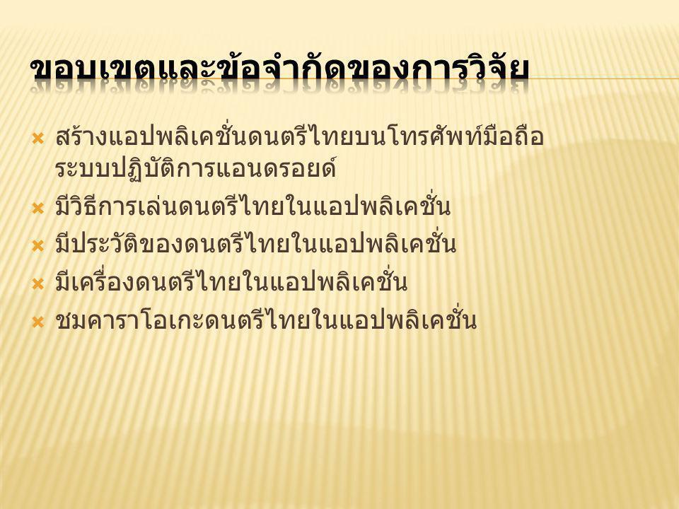  สร้างแอปพลิเคชั่นดนตรีไทยบนโทรศัพท์มือถือ ระบบปฏิบัติการแอนดรอยด์  มีวิธีการเล่นดนตรีไทยในแอปพลิเคชั่น  มีประวัติของดนตรีไทยในแอปพลิเคชั่น  มีเครื่องดนตรีไทยในแอปพลิเคชั่น  ชมคาราโอเกะดนตรีไทยในแอปพลิเคชั่น