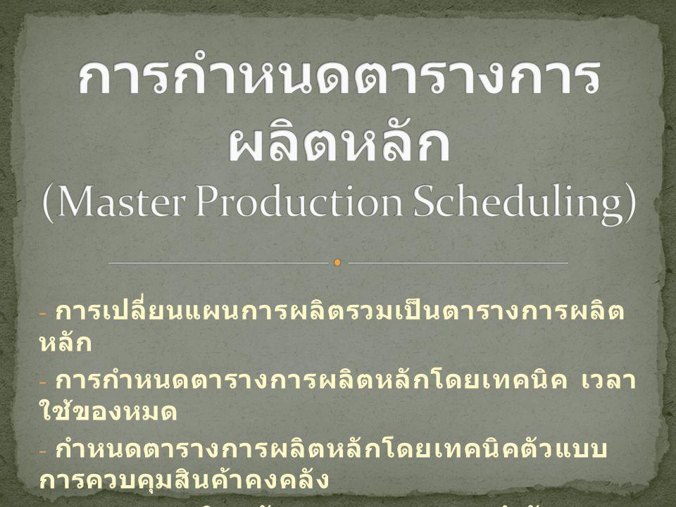 - การเปลี่ยนแผนการผลิตรวมเป็นตารางการผลิต หลัก - การกำหนดตารางการผลิตหลักโดยเทคนิค เวลา ใช้ของหมด - กำหนดตารางการผลิตหลักโดยเทคนิคตัวแบบ การควบคุมสินค